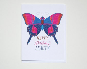 Happy Birthday Beauty - Butterfly - Note Card