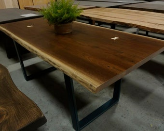 CUSTOM WALNUT Live Edge Dining Table on Steel Legs