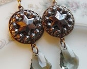 Antique Steel Cut Button Earrings with Baroque Cut Swarovski Crystals, Star Studded