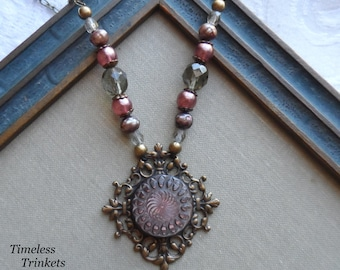 Antique Button Necklace- Mother of Pearl- Spirograph, Handmade by Timeless Trinkets