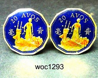 Macau Macao coin cufflinks 20 Avos 12-sided 20mm