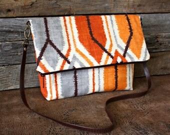 Orange and Gray Geometric Fold over Bag