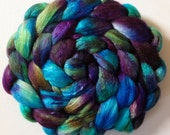 Iridescence Hand Dyed roving 3.5ozs polwarth mulberry silk 70/30 made to order