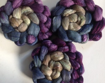 Roving for spinning  merino silk  blends  2ozs Belladonna