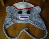 Off whte and brown Ragg, Crochet, Monkey, Earflap,Hat, 5 to teens