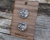 upcycled aluminum bits and resin post/ stud earrings