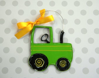 Tractor Ornament - painted wood - personalized - hand painted - Christmas ornament - farm ornament - wood - country boy - child ornament