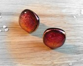 Sterling Silver Fused Glass Stud Earrings Sparkling Copper Tones