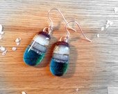 Sterling Silver Fused Glass Earrings Sandy Turquoise Beach