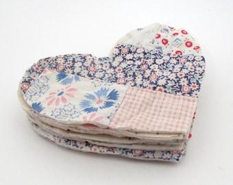 10 Cutter Quilt Hearts - Patchwork Hearts - Vintage Quilt Hearts - Shabby - Primitive - Antique Quilt