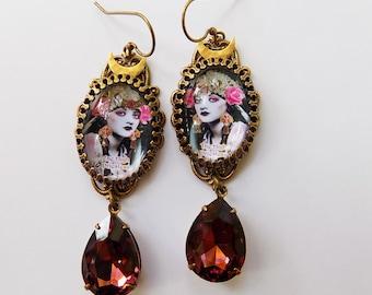 Tarot Earrings - High Priestess Earrings - Wicca earrings - pagan jewelry - pagan earrings - tarot jewelry - high priestess - earrings -gift