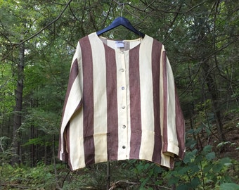 100% Linen brown and Cream Stripped Jacket