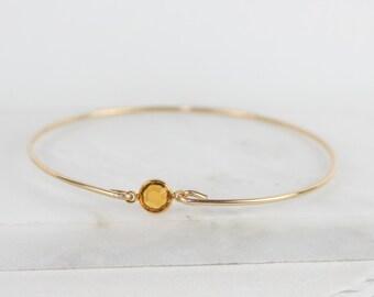 November Birthstone Swarovski Topaz Gold Bangle Bracelet, Gold Bracelet, Topaz Bangle Bracelet, November Birthstone Bracelet [#773]