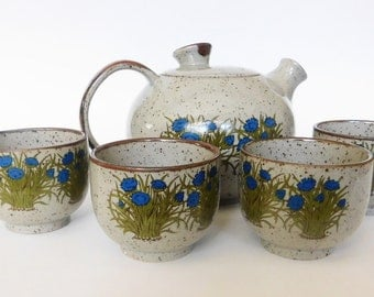 Vintage Stoneware Teapot and Cups