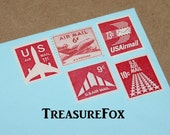 Little RED Airmails .. Unused Vintage Postage Stamps .. Enough to mail 5 letters .. All small sized stamps for mailing and scrap booking.