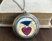 Locket Necklace, Bird and Heart, Long Locket Necklace, silver Locket , Personalized Necklace, Raven, Book Lover Gift