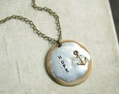 Hope Handstamped Pendant Necklace, Anchor Necklace, Inspirational, Soldered, Word Necklace, Nautical