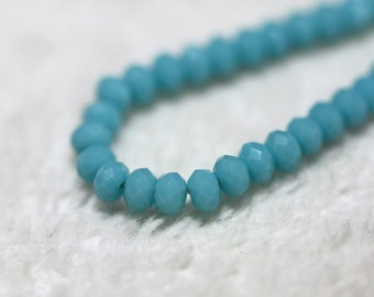 50 pcs. 2x3mm. Turquoise Blue Faceted Rondelle Chinese Glass Crystal