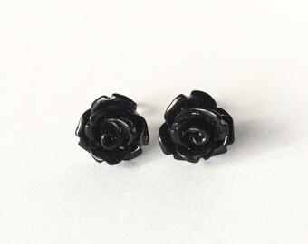 Kawaii Stud Earrings Shiny Black Roses Post Earrings Opaque Flowers No Metal Acrylic Posts Hypoallergenic Sensitive Ears Waterproof Jewelry