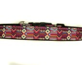 1 Inch Wide Dog Collar with Adjustable Buckle or Martingale in Tribal Pink