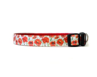 5/8 or 3/4 Inch Wide Dog Collar with Adjustable Buckle or Martingale in Poppies