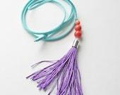 Purple tassel necklace, boho jewelry, hipster jewelry, long necklace, casual necklace, colorful necklace
