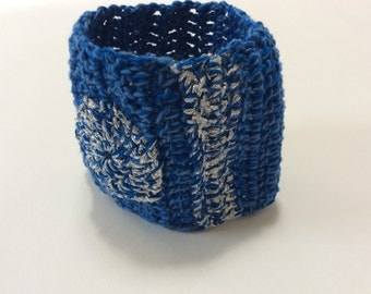 Crocheted Cuff Bracelet with Circle and Stripe in Blue and Silver