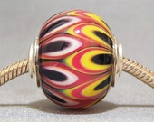 Focal Round Black, Red, Yellow & White Lampwork Glass Necklace Bead Jester MicMac