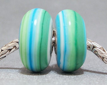 Blue & Green Handmade Stripe Lampwork Glass Beads Euro Bracelet Charm Bali Beach Pair