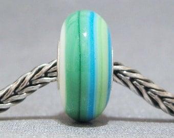 SMALL CORE Blue, Green & White Handmade Lampwork Bead Glass Big Hole Bead Bali Beach II