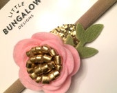 Pink and Gold Felt Flower Headband // Rose // Gold Glitter // Mini Flower // Photo Prop // Mini Flower Crown // Nylon Headband // Hair Clip