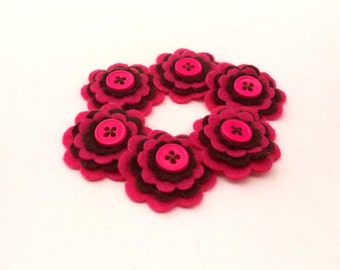 Hot Pink and Brown Felt Flowers, Scrabooking Embellishments, Card Making Supplies, Floral Embellishments, Felt Embellishments