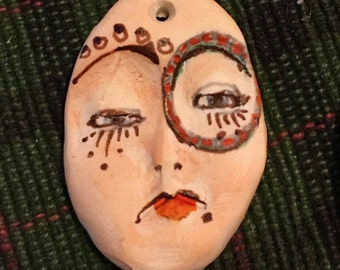 clay face OOAK Handmade pendant oval woman face round jewelry craft supplies  face polymer