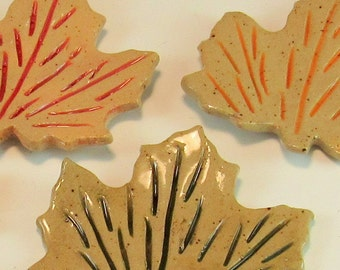 Pottery Maple Leaf/Autumn Leaf/ Trinket Tray/Tea Bag Holder/Ring Tray/Jewelry holder-- Set of 4