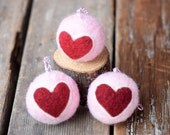 Heart Ornament in Pink - Felted Valentine Love