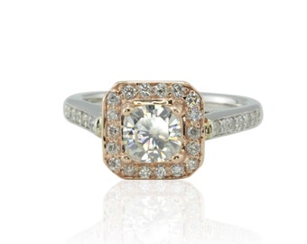 Cushion Cut Engagement Ring, Moissanite and Diamond Halo Rose Gold Engagement Ring - LS1956