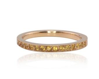 Birthstone Ring, Natural Citrine Mother's Ring w/Milgrain, 14k Gold Stackable Ring, November Birthstone Citrine Stacking Ring - LS2880