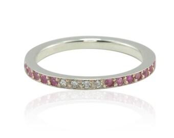 Pink Sapphire and Diamond Half Eternity Band - LS3301