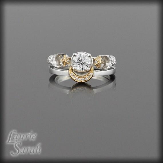 Sun and Moon Rings, Diamond Sun, Moon and Stars Diamond Engagement Ring and Wedding Band Set - LS1561