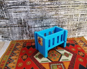 Dol Toi Blue Crib w/ baby 1:16 Scale