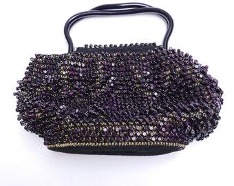 Vintage Evening Bag// Rare Fancy Evening Black Handbag// Glamour Black Beaded Purse