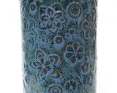 Slate Blue Textured Floral Handmade Ceramic Pottery Utensil Holder Flower Vase