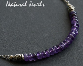 Handmade silver robust rustic purple amethyst gemstone necklace