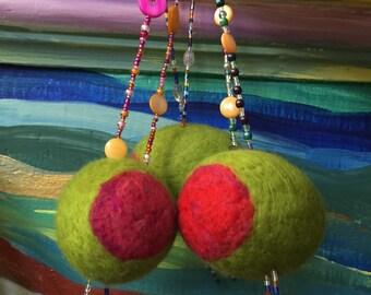 1 XL Jumbo 2017 Hanging Olive Ornament - 75 mm wet felted Merino Wool