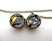 Solar System Locket, Mini Outer Space Painting, Speckled Starry Patina