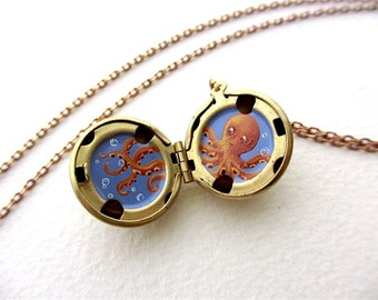 Hand-Painted Oil Enamel Octopus Locket, Orange Kraken, Tiny Spirit Animal