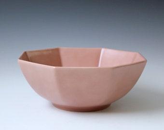 Vintage pastel pink Fitz & Floyd serving bowl or fruit bowl
