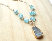 Long Gold Druzy Gemstone Necklace, Gray Gold Plated Drusy, Blue Green Apatite
