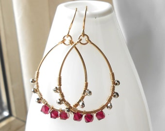 Ruby Crystal Gold Hoop Earrings, Beaded Gold Hoops, Wire Work Hoops