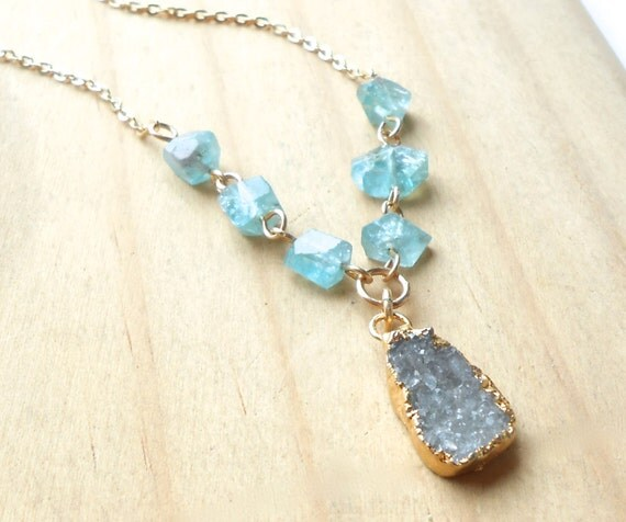 Long Gold Druzy Necklace, Gold Plated Drusy and Blue Green Apatite